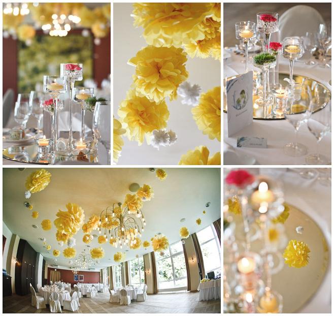 Bei der Hochzeits-Dekoration des Bankettsaales im Dämeritz Seehotel ...