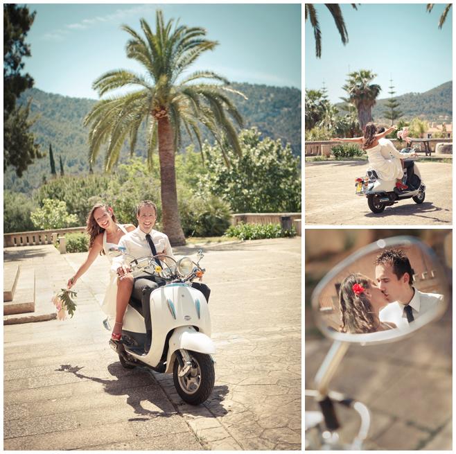 Hochzeitsfotos auf Roller in Mallorca © Hochzeitsfotograf Berlin hochzeitslicht