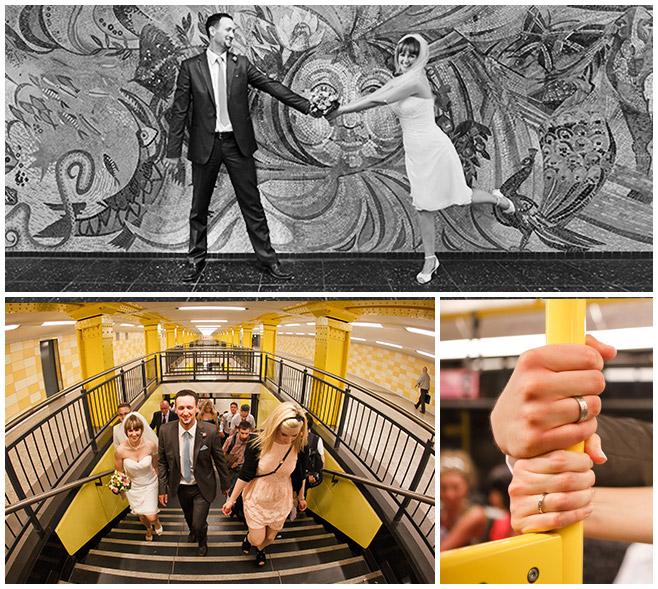 Hochzeitsfotos von professionellem Hochzeitsfotografen in Berliner U-Bahn © Hochzeitsfotograf Berlin hochzeitslicht