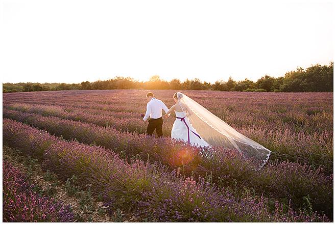 Foto von Brautpaar aufgenommen von Berliner Hochzeitsfotograf in Lavendelfeld in der Provence, Frankreich © Hochzeitsfotograf Berlin hochzeitslicht