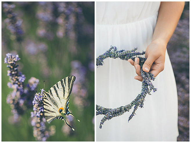 Schmetterling im Lavendelfeld und Haarkranz aus Lavendel von Profifotografen aus Berlin in der Provence, Frankreich © Fotostudio Berlin LUMENTIS