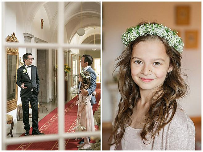 Hochzeitsbilder von Bräutigam und von Blumenmädchen auf Schloss Herzfelde © Hochzeitsfotograf Berlin hochzeitslicht