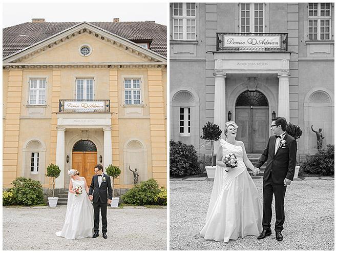 Brautpaarfotos vor Schloss Herzfelde auf vintage Hochzeit © Hochzeitsfotograf Berlin hochzeitslicht