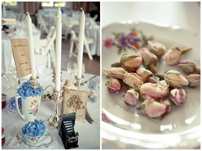 Hochzeits-Tischdekoration im Vintage-Look bei DIY-Hochzeit auf Schloss Marquardt © Hochzeitsfotograf Berlin hochzeitslicht