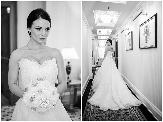 Hochzeitsportraits der Braut mit langer Schleppe und außergewöhnlichem Brautstrauß im Ritz Carlton Hotel Berlin © Hochzeitsfotograf Berlin www.hochzeitslicht.de