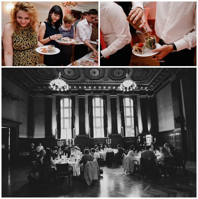 Hochzeitsgesellschaft bei Abendessen während Hochzeitsfeier im Meistersaal, Berlin © Hochzeitsfotograf Berlin www.hochzeitslicht.de