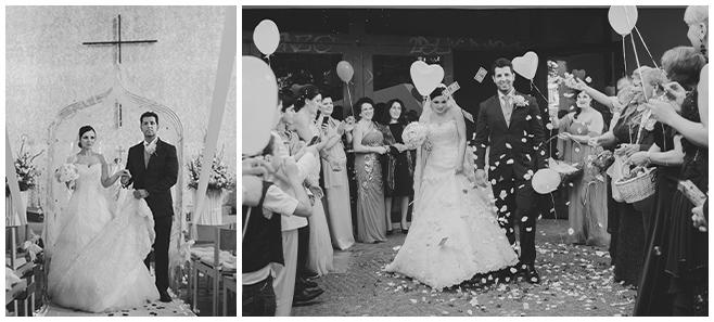 Hochzeitsfotos vom Auszug des Brautpaares und Hochzeitsgesellschaft mit Herz-Luftballons nach kirchlicher Trauung © Hochzeitsfotograf Berlin www.hochzeitslicht.de