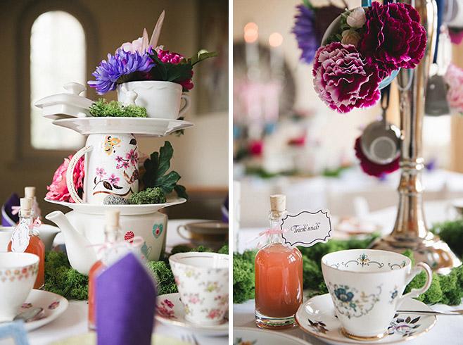 originelle DIY-Dekoration im Vintage-Stil zu Alice-im-Wunderland-Mottohochzeit © Hochzeitsfotograf Berlin www.hochzeitslicht.de