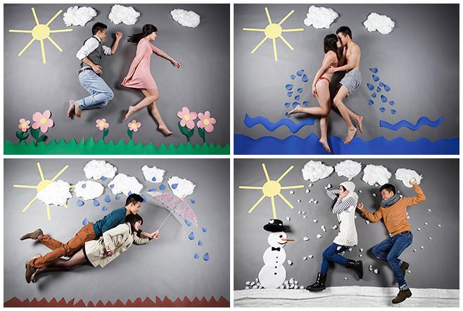 """Collage aus professionellen Paarfotos zum Thema """"Die Vier Jahreszeiten"""" © Berliner Fotostudio LUMENTIS"""" © Berliner Fotostudio LUMENTIS"""