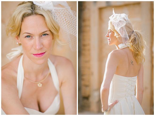 Fotos der Braut mit Brautkleid und Headpiece im Vintagelook der 50er Jahre © Hochzeitsfotograf Berlin hochzeitslicht