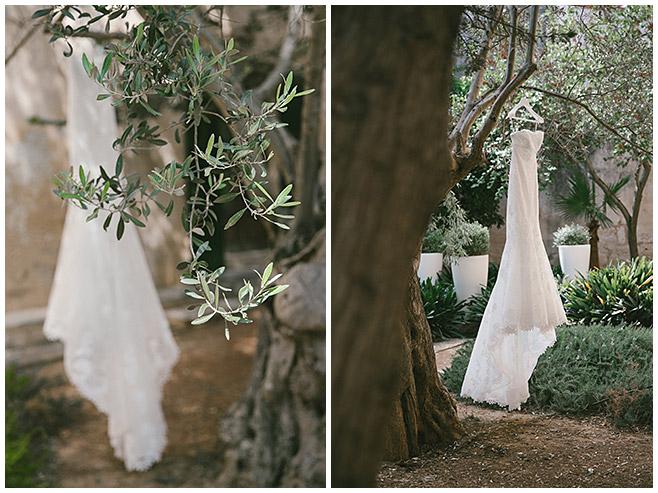 Brautkleid in Olivenbaum auf Hochzeit auf Mallorca © Hochzeitsfotograf Berlin hochzeitslicht
