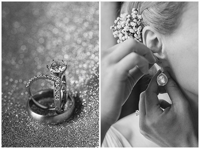 Hochzeitsfotos der Ringe und der Tropfen-Ohrringe der Braut bei Hochzeitsvorbereitungen in Berlin-Mitte © Hochzeitsfotograf Berlin hochzeitslicht