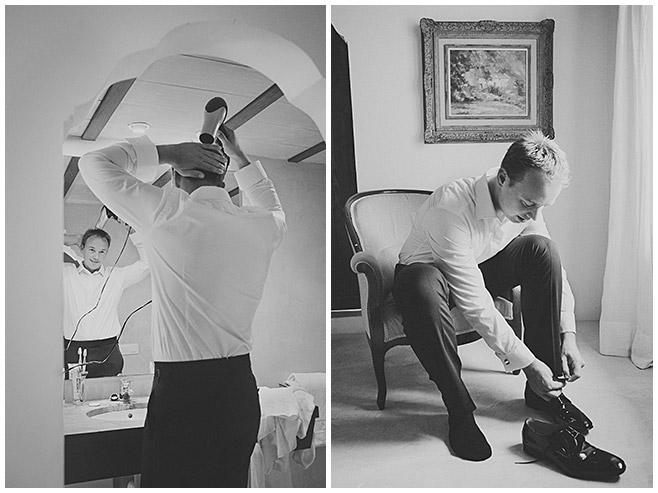 Bräutigam während Hochzeitsvorbereitungen beim Föhnen der Haare und Anziehen der Schuhe © Hochzeitsfotograf Berlin hochzeitslicht