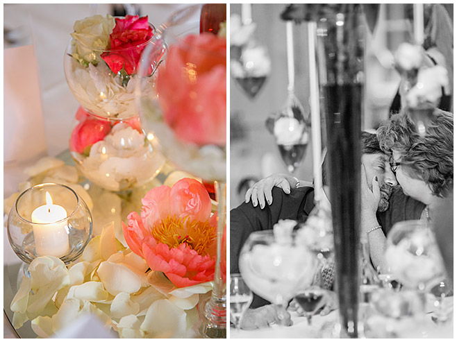 Blumen-Hochzeitsdekoration bei Hochzeitsfeier auf Schloss Herzfelde © Hochzeitsfotograf Berlin hochzeitslicht