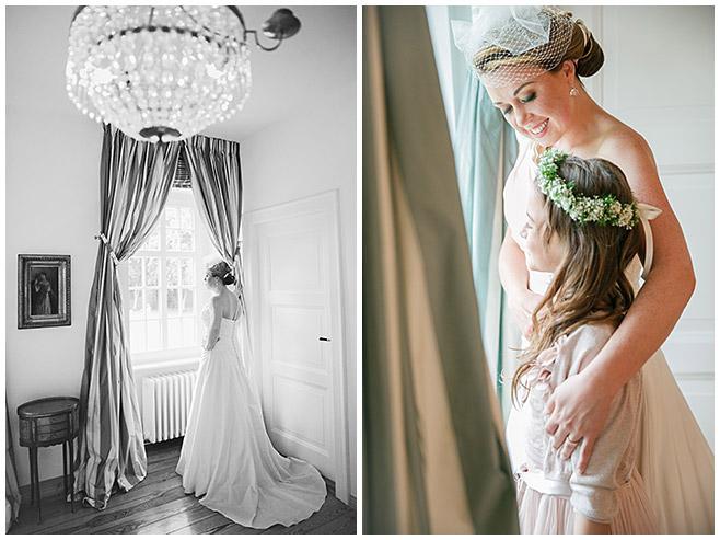 professionelle Hochzeitsfotografien von Braut mit Blumenmädchen bei Hochzeit auf Schloss Herzfelde, Uckermark © Hochzeitsfotograf Berlin hochzeitslicht