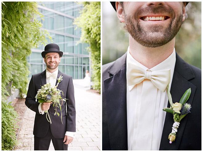 Hochzeitsbilder von Bräutigam vor standesamtlicher Trauung im Mittelmeerhaus Botanischer Garten Berlin © Hochzeitsfotograf Berlin www.hochzeitslicht.de