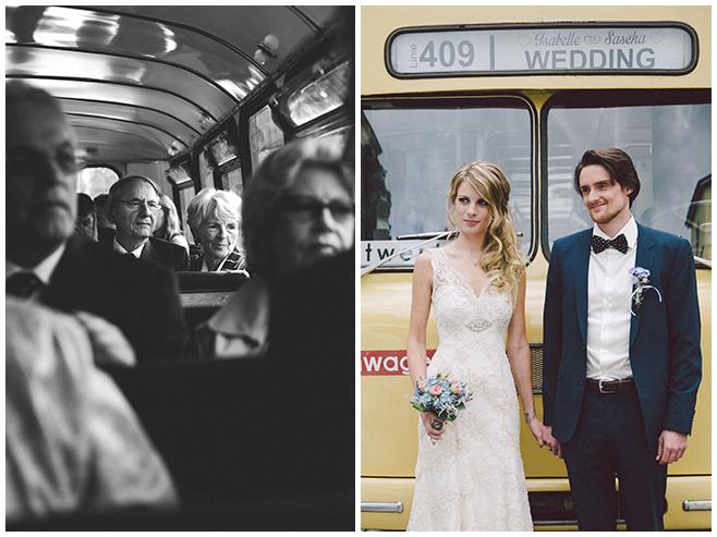 Gäste und Brautpaar auf Fahrt zum Hochzeitsfest in Ballsaal-Studio Berlin © Hochzeitsfotograf Berlin www.hochzeitslicht.de
