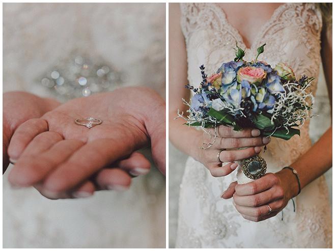 kreative Hochzeitsfotos von Braut mit Ring und Brautstrauß  © Hochzeitsfotograf Berlin www.hochzeitslicht.de