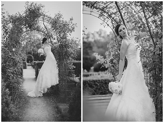 Hochzeitsfotoshooting mit Braut in Rosengarten Volkspark Humboldthain, Berlin