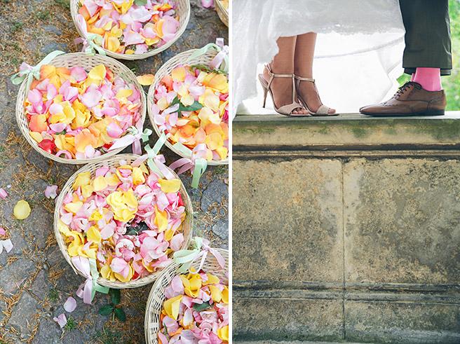Detailfotos von Blütenblättern und Hochzeitsschuhen des Brautpaares aufgenommen von professioneller Hochzeitsfotografin Berlin © Hochzeitsfotograf Berlin www.hochzeitslicht.de