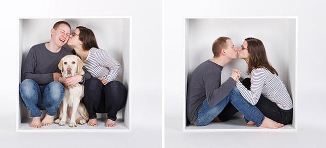 Familienfotos aufgenommen in weißer Kiste im Fotostudio Berlin © Fotostudio Berlin LUMENTIS
