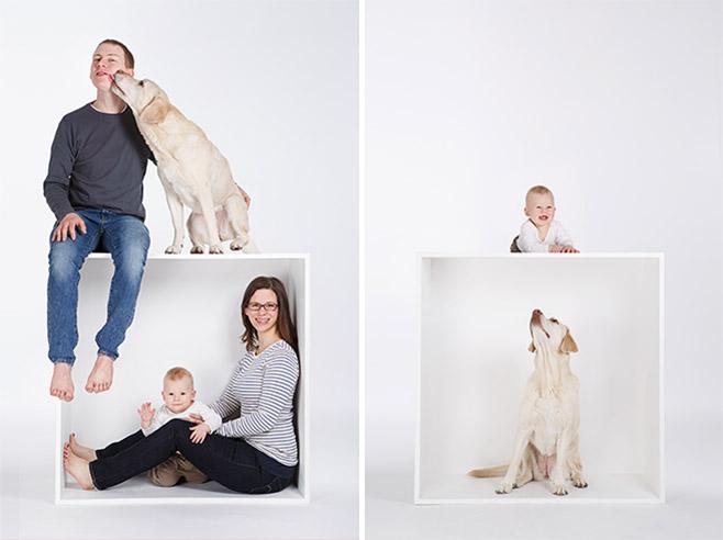 Familienfotos aufgenommen im Fotostudio mit weißer Kiste von professionellem Fotografen im Fotostudio Berlin © Fotostudio Berlin LUMENTIS