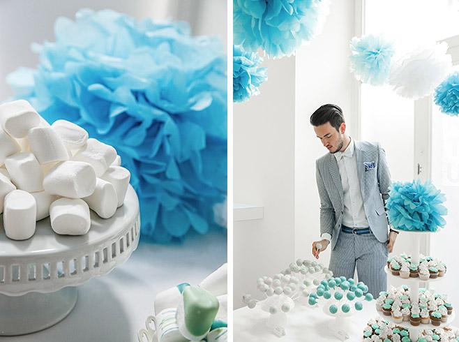 Hochzeitsdekoration mit weißen und türkisen Pompoms und Candybar von Ben & Bellchen Berlin © Hochzeitsfotograf Berlin www.hochzeitslicht.de