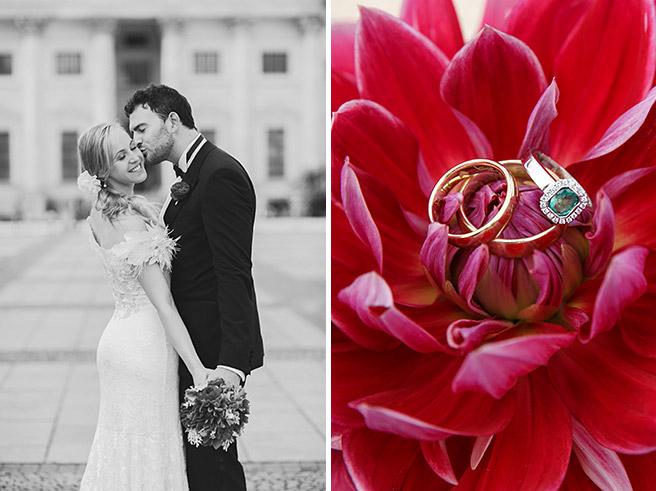 Braut und Bräutigam bei Hochzeits-Fotoshooting auf dem Gendarmenmarkt und Makroaufnahme der Eheringe im Hotel de Rome Berlin © Hochzeitsfotograf Berlin www.hochzeitslicht.de