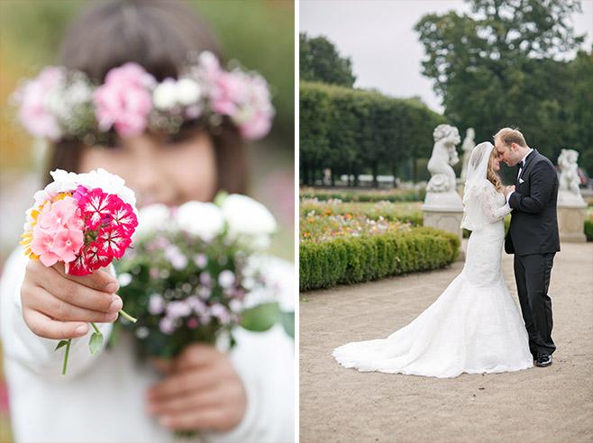 Brautpaarfoto nach Trauung im Schloss Friedrichsfelde und Foto von kleinem Mädchen bei Hochzeit im Tierpark Berlin © Hochzeitsfotograf Berlin www.hochzeitslicht.de