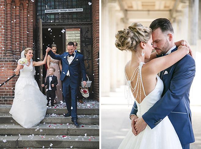 Fotografien von Brautpaar nach Taufzeremonie und Hochzeit in Heilige-Geist-Kirche Berlin © Hochzeitsfotograf Berlin www.hochzeitslicht.de