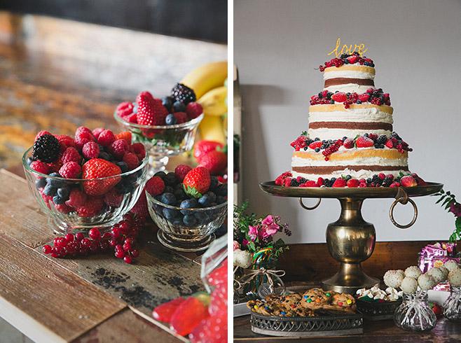 """boho Candybar und Naked Cake von """"The Tiny Cake Boutique"""" bei Boho-Hochzeit in Fabrik 23, Berlin © Hochzeitsfotograf Berlin www.hochzeitslicht.de"""