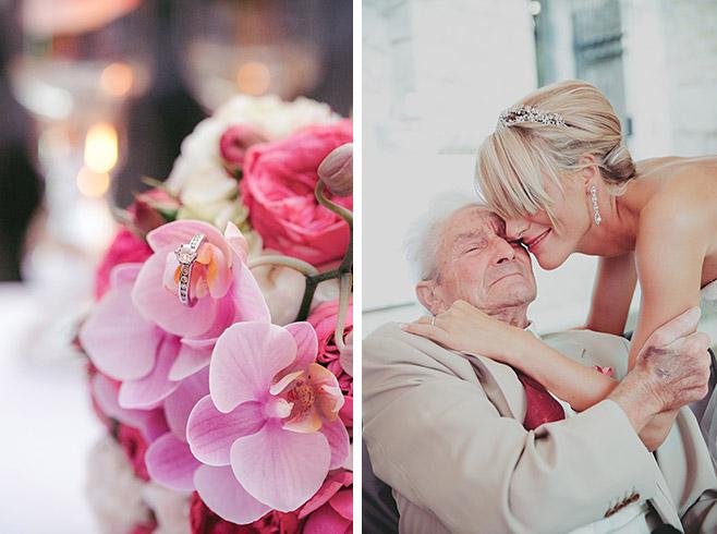 professionelle Hochzeitsfotografien von Bulgari Ehering und Hochzeitsaufnahme von Braut mit Großvater © Hochzeitsfotograf Berlin www.hochzeitslicht.de
