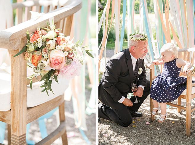 Hochzeitsreportage-Foto bei DIY-Hochzeit und Detailfoto von DIY Brautstrauß bei Hochzeit im Spreewald © Hochzeitsfotograf Berlin www.hochzeitslicht.de