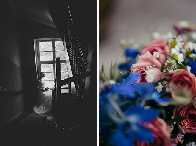 Hochzeitsfoto im Vintage-Stil von Braut bei Hochzeit im Haus Tornow und Detailfoto von Brautstrauß mit Rosen im Vintage Look © Hochzeitsfotograf Berlin www.hochzeitslicht.de