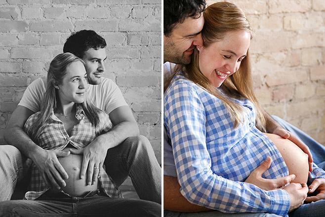 Authentische Schwangerschaftsfotos zu Hause in Prenzlauer Berg aufgenommen von professionellem Babybauch-Fotograf Berlin © Fotostudio Berlin LUMENTIS