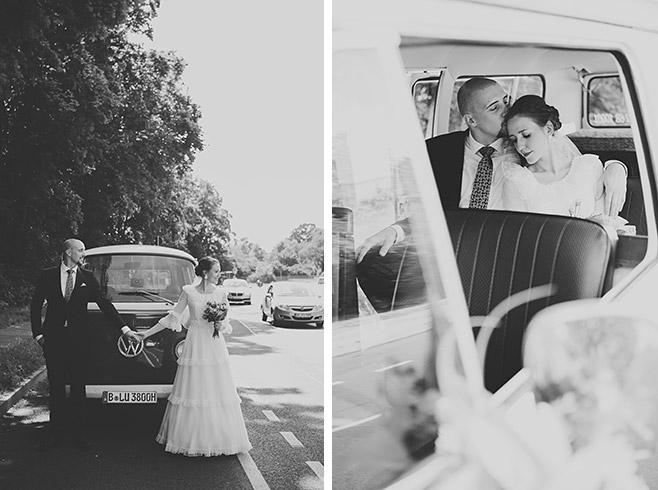 Brautpaarfotos mit VW-Bus bei Vintage-Hochzeit in Potsdam © Hochzeitsfotograf Berlin www.hochzeitslicht.de